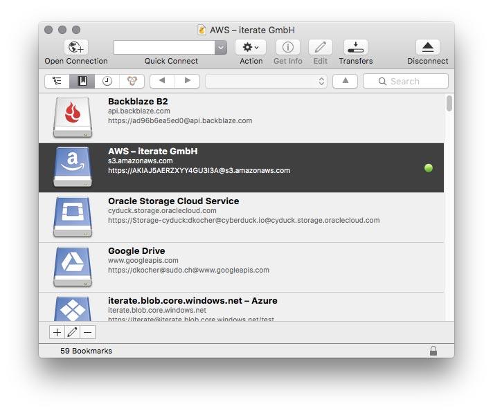 Favoritos en Cyberduck Mac