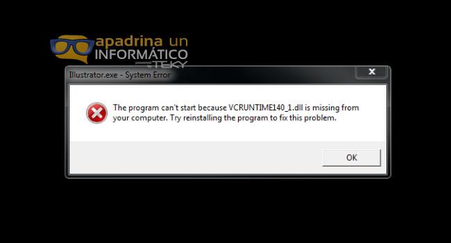 Error con VCRUNTIME140_1.dll o VCRUNTIME140.dll al iniciar un programa