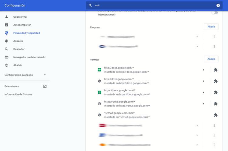 eliminar notificaciones de Chrome